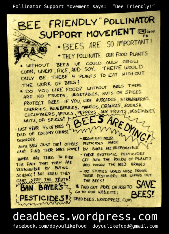 One of Don's original PSM community education flyers © 2012 Pollinator Support Movement