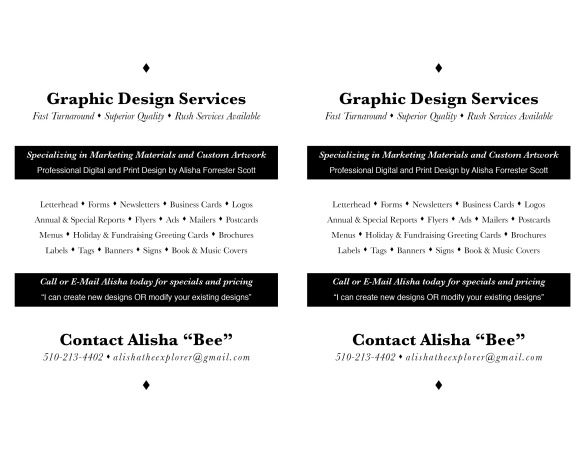 "Flyer ""Graphic Design Services"" © 2013 Alisha M. Forrester Scott"