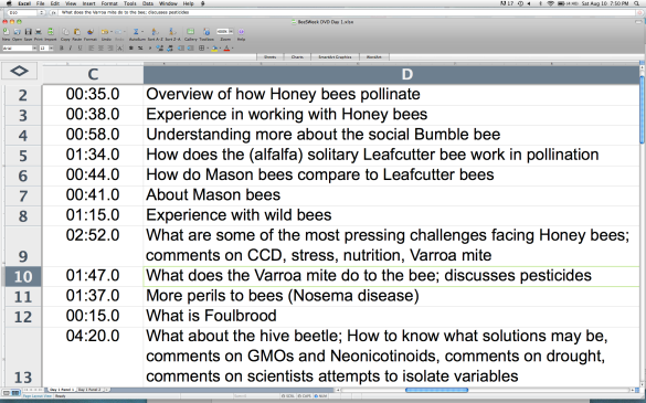 View of edited BeeSWeek footage tables © 2013 Pollinator Support Movement